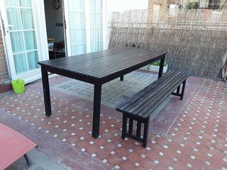 Mesa y banco de madera exterior IKEA