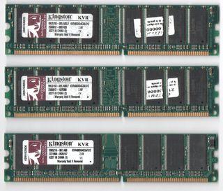 3 MEMORIAS RAM DDR 512 MB PC400 ( KINGSTON)