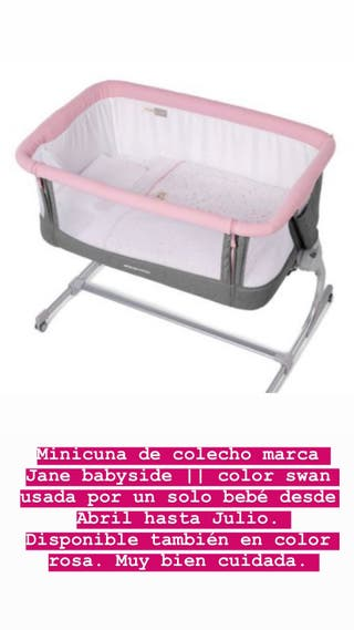 Minicuna colecho Jane Babyside gris y rosa