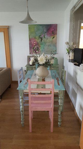 mesa de comedor y 4 sillas estilo vintage