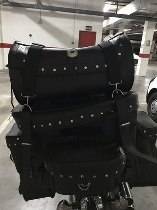 Alforjas trasera cuero moto custom