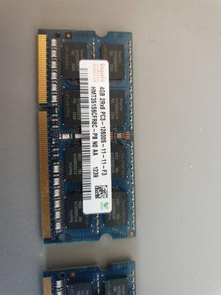 memoria RAM 4 Gybytes portatil Toshiba