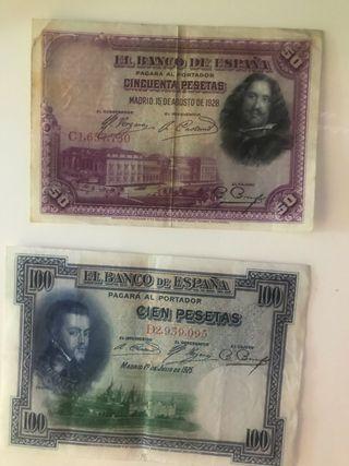 dos billetes antiguos pesetas
