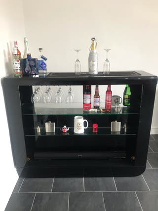 Home bar with glass shelves plus bar stools & more