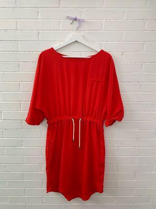 Vestido en color rojo anaranjado