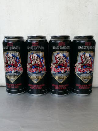 4 Latas VACIAS de Cerveza Iron Maiden Trooper d UK