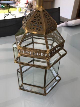 Farol árabe hexagonal de latón