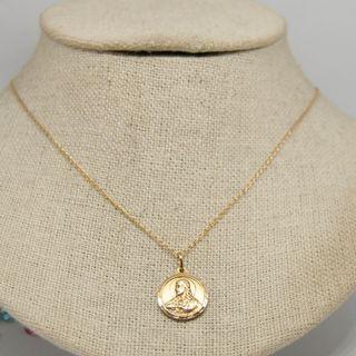Medalla Sagrado Corazón de Jesús y Virgen, oro 18k