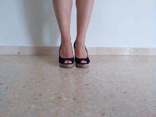 Zapatos Tacon Cuña Negros Talla 39