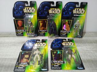 """5 Figuras """"Star Wars"""" El Poder de la fuerza.Kenner"""