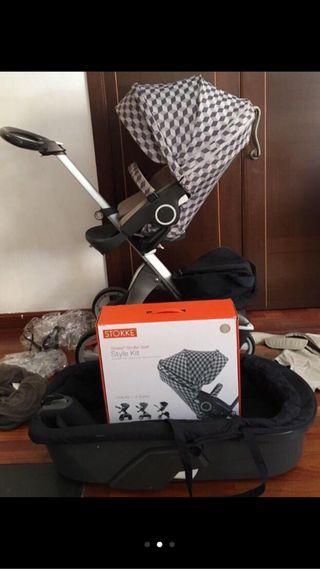 Coche de bebe stokke + regalo silla de coche