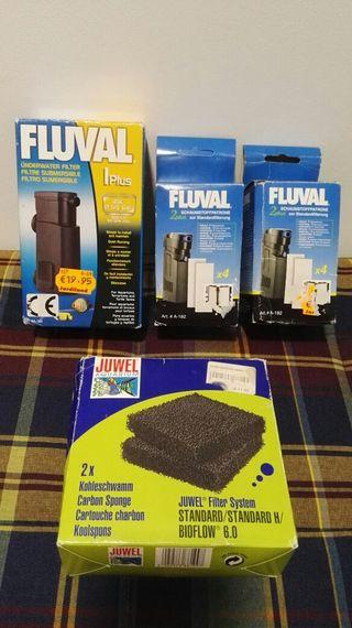 filtro fluval 45 litros y espumas
