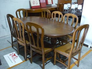 Mesa salon comedor castaño con 8 sillas extensible