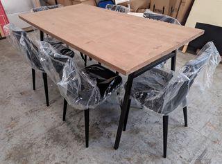 Mesa + 6 sillas diseño industrial nuevas