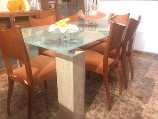 Mesa comedor cristal + 6 sillas