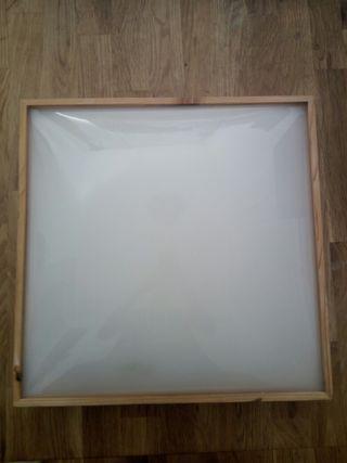 lámpara plafón cristal - madera