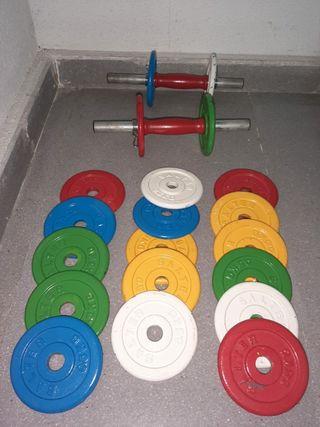 juego mancuernas y pesas