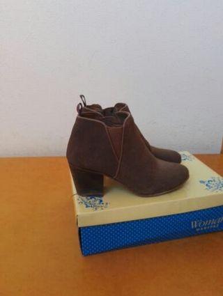 Botines de piel 36 / botas zapatos tacón tacones