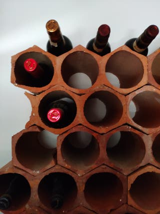 botelleros apilables de cerámica y madera