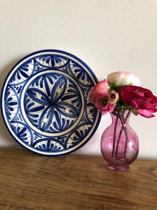 Plato cerámica blanco - azul