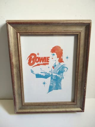 Cuadro Bowie marco plateado