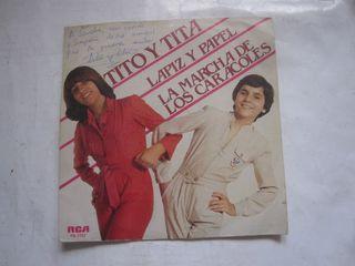 disco single vinilo Tito y Tita Lápiz papel firma