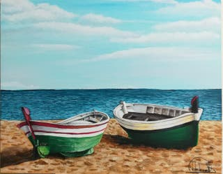 Barcas en la playa, óleo