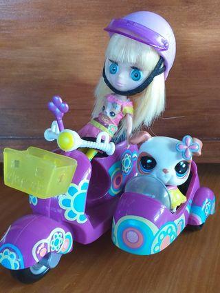 Mini Blythe pet shop con moto