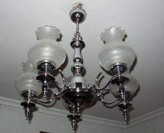 Lámpara de cinco brazos plateada