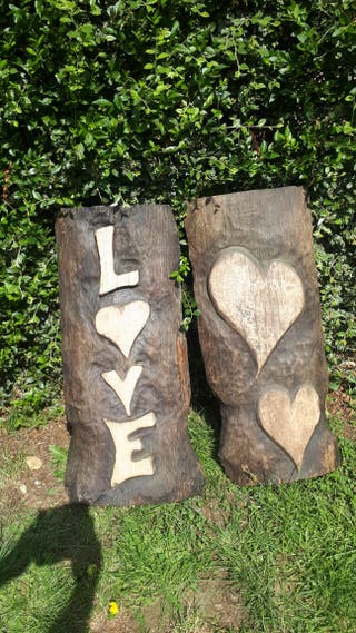 carved on solid oak love signs