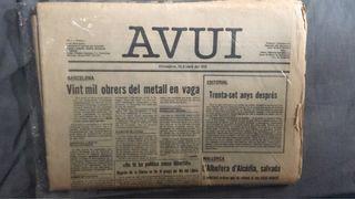 Avui primer Any 1 numero 1 periódico catalán