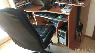 mesa escritorio y sillón polipiel