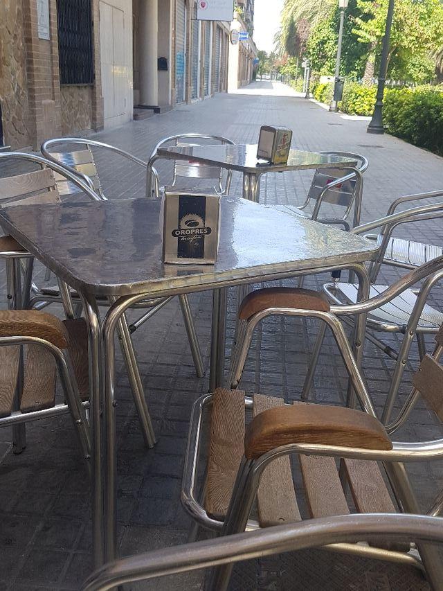 Mesas Terraza Aluminio Y Sillas Aluminiomadera Bar De
