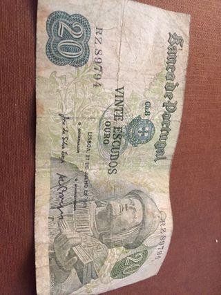 Billete 20 escudos de Portugal año 1974