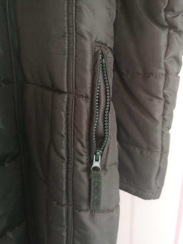 abrigo largo pluma verde mujer talla S