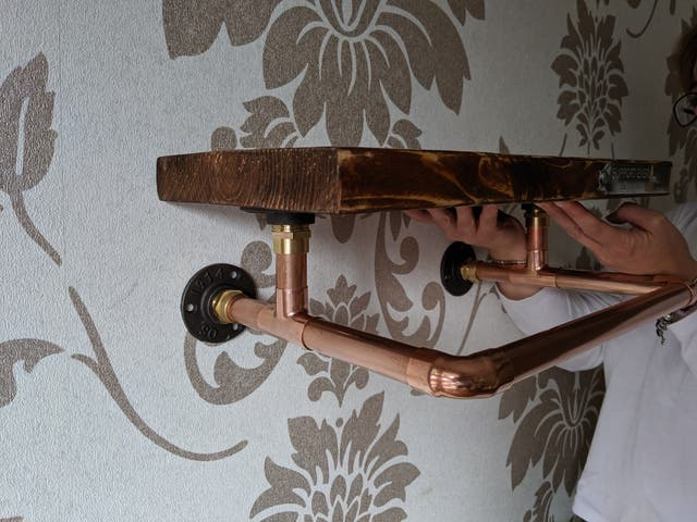 Weathered Oak & Copper Pipe Clothes Rail