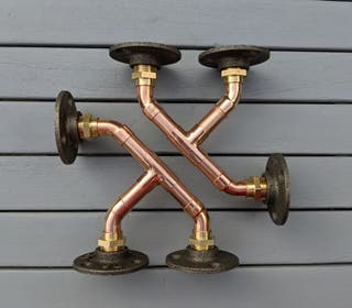 3 Pronged Copper Pipe Shelf Brackets