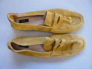 Zapatos mocasines mujer piel 38 amarillos Mango