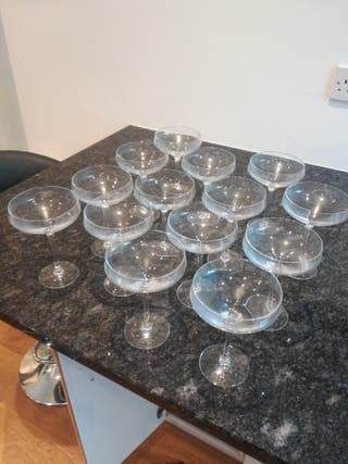 14 champagne / martini glasses