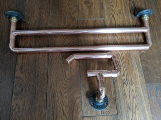 Copper Pipe Towel Rail & Loo Roll Holder Set