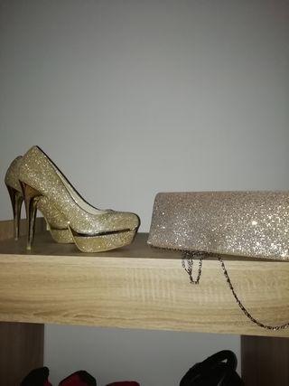 Zapatos Fiesta + Bolso Fiesta Dorado.