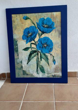 Cuadro flores azul