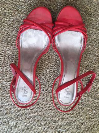 Zara sandalias de cuña de esparto rojas