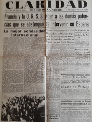 Facsimil, periódicos.Guerra Civil Española.1936