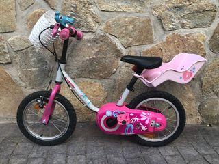 Bicicleta niño/niña 14 Pulgadas Rosa. B-TWIN