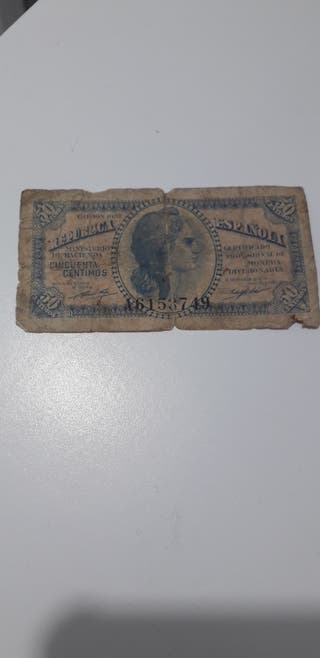 billete 50 cts. de ña republica 1937