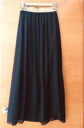 Falda larga de gasa negra NUEVA