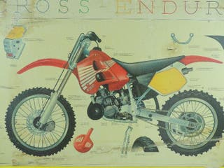 Excelente cartel de autoescuela de moto de Enduro