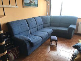Sofa esquinero Azul+ Reposapies a Juego