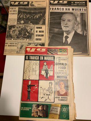 Periódicos variados muerte de Franco